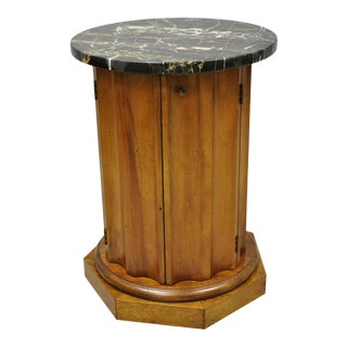 Vintage Italian Classical Round Marble Top Fluted Column Cabinet Pedestal Stand For Sale
