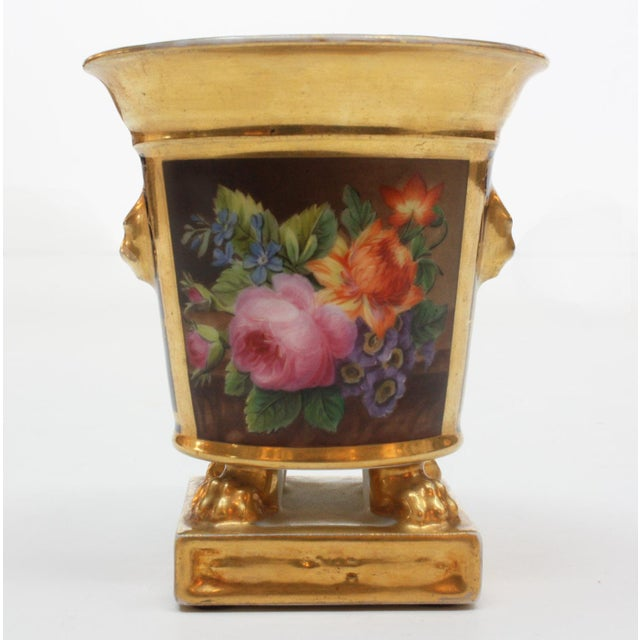 "An ""Old Paris"" porcelain footed bulb pot, cobalt and gilt with floral still life, marked underneath Darte (see Image 7),..."