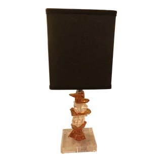 Murano Amber Glass Small Table Lamp, by Artist Luigi Benzoni For Sale