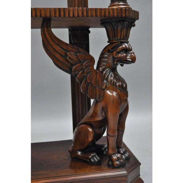 Mahogany Regency Style Carved Griffin Bookcase Horner Style-a Pair For Sale - Image 9 of 11