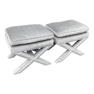 Pair of Fully Upholstered Designer X Benches in Silver Cut Velvet For Sale