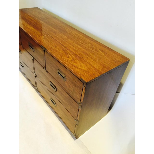 Vintage Iconic Campaign Dresser Low Credenza With 7 Drawers - Image 8 of 10