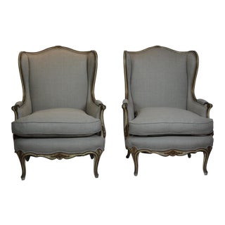 1950s Vintage Louis XV Style Wing Back Chairs- A Pair For Sale