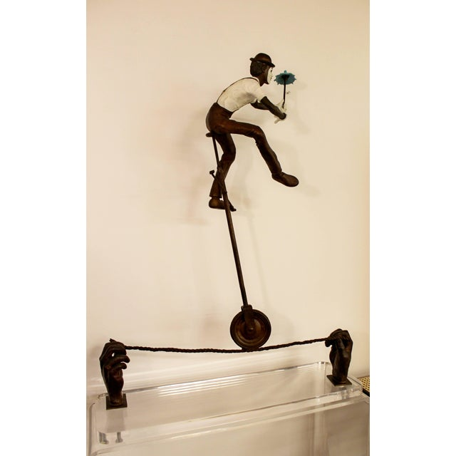 Bronze Contemporary Jerry Soble Balancing Man Bronze Mime Sculpture, Signed, 1991 For Sale - Image 7 of 11