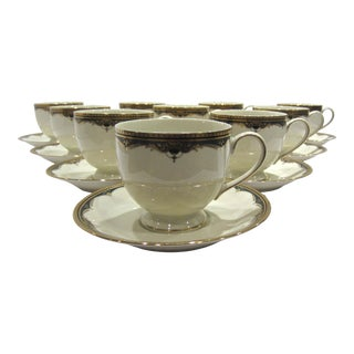 1990s Mikasa Gold Royale Coffee Cups & Saucers - Service for 10 For Sale