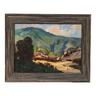 "Late 20th Century ""Below the Hills"" Framed Painting For Sale"