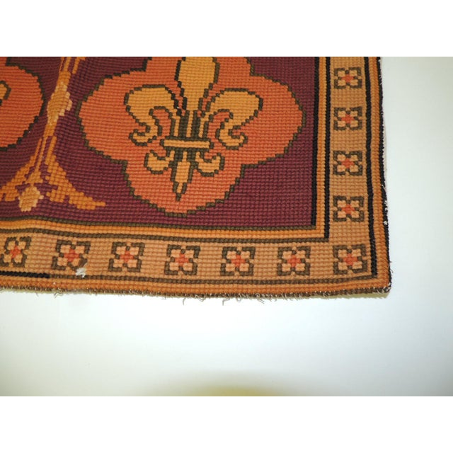 Baroque Vintage Fleur-De-Lis Yellow and Red Tapestry For Sale - Image 3 of 6