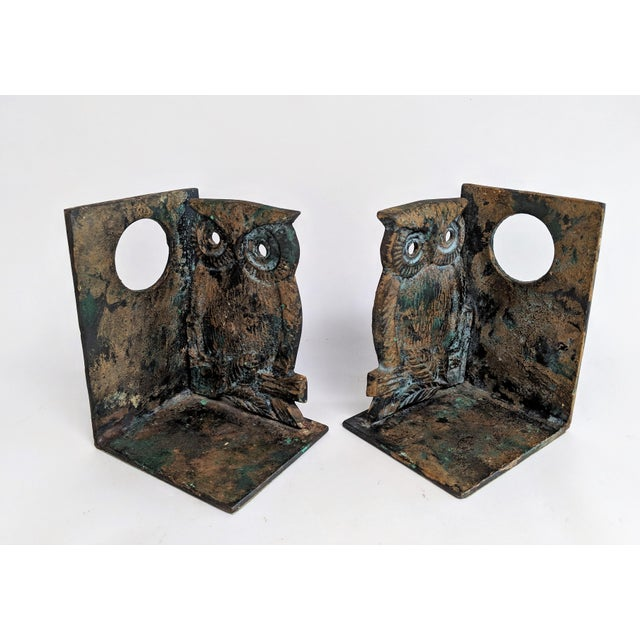Vintage Metal Owl Bookends - A Pair - Image 4 of 9