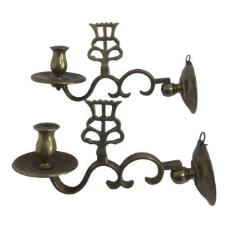 Antique Dutch Brass Candle Sconces - A Pair For Sale