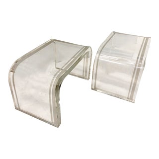 Charles Hollis Jones Lucite Tables-A Pair For Sale