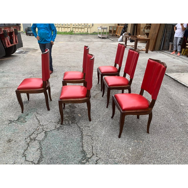 1940s Vintage French Art Deco Solid Mahogany Dining Chairs - Set of 6 For Sale In Miami - Image 6 of 13
