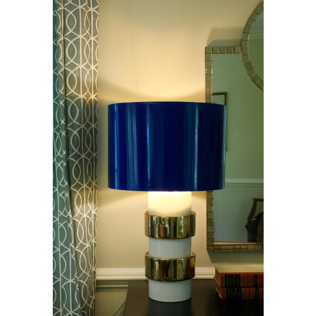 Not Yet Made - Made To Order Medium Cobalt Blue Drum Lamp Shade With Gold Lining For Sale - Image 5 of 5
