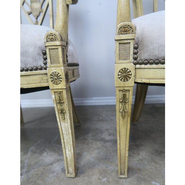 Pair of 1930s Italian Neoclassical Painted Armchairs W/ Urns For Sale - Image 9 of 12