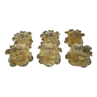1930s Ercole Barovier Murano Tulip Bowls With Gold Flakes - Set of 6 For Sale