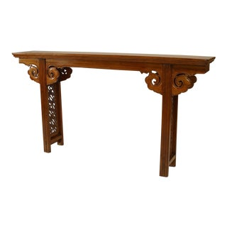 Chinese (18th Cent) Elmwood Narrow Altar Style Console Table For Sale
