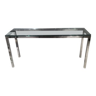 Chromed Steel and Glass Console Table For Sale