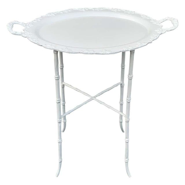 Faux Bamboo and Grape Motif White Enameled Tray Table, Provenance Celine Dion - a Pair For Sale - Image 10 of 10