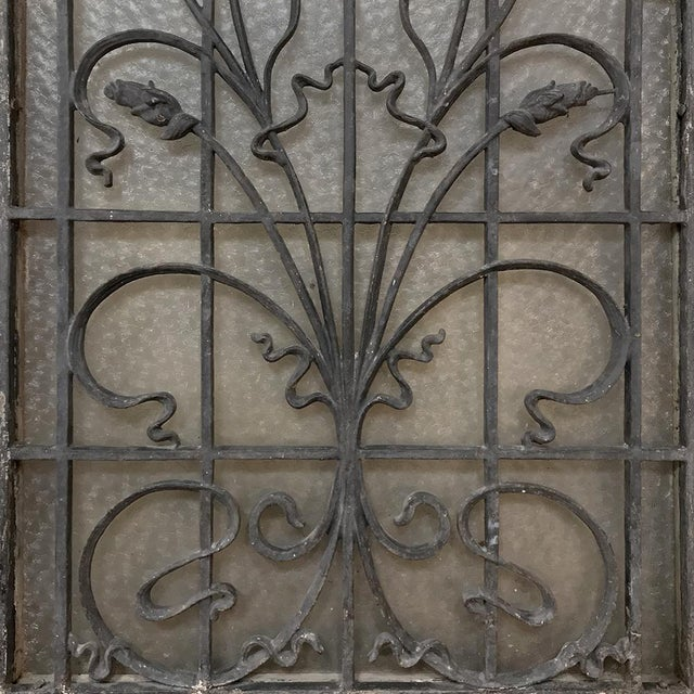Late 19th Century Art Nouveau Exterior Door, 19th Century French With Wrought Iron For Sale - Image 5 of 13