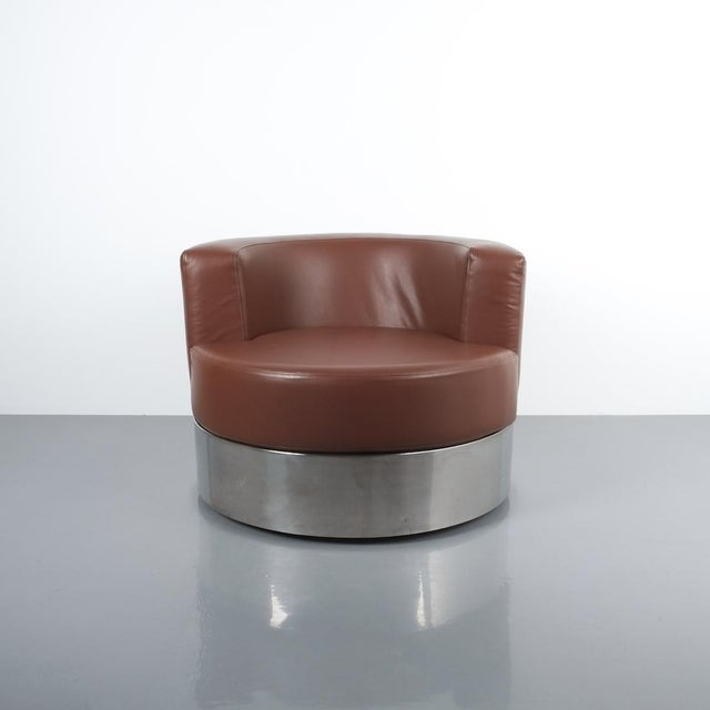 Franco Fraschini Brown Leather Chair for Driade, Italy, 1965 For Sale - Image 11 of 11