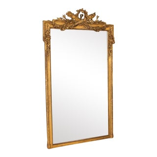 Tall Antique Gold Gilt Mirror With Torch, Arrows and Flower Wreath From France For Sale