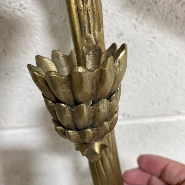 1970s Brass Palm Candle Sconces - a Pair For Sale - Image 5 of 13