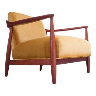 Mid-Century Italian Modern Sculpted Walnut and Ochre Velvet Lounge Chair For Sale