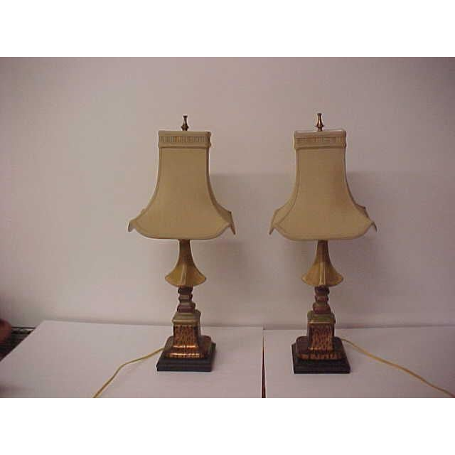 Asian Style With Faux Leopard Trim Table Lamps - a Pair - Image 3 of 8
