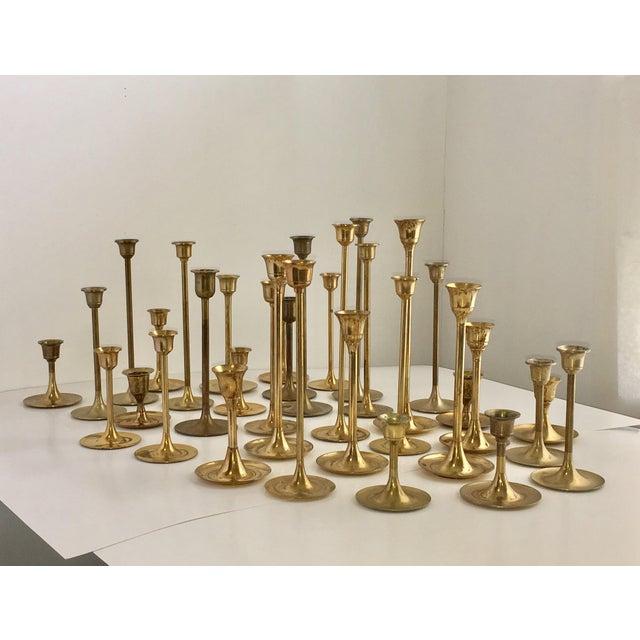 Mid-Century Brass Tulip Candlesticks - Set of 34 - Image 3 of 8