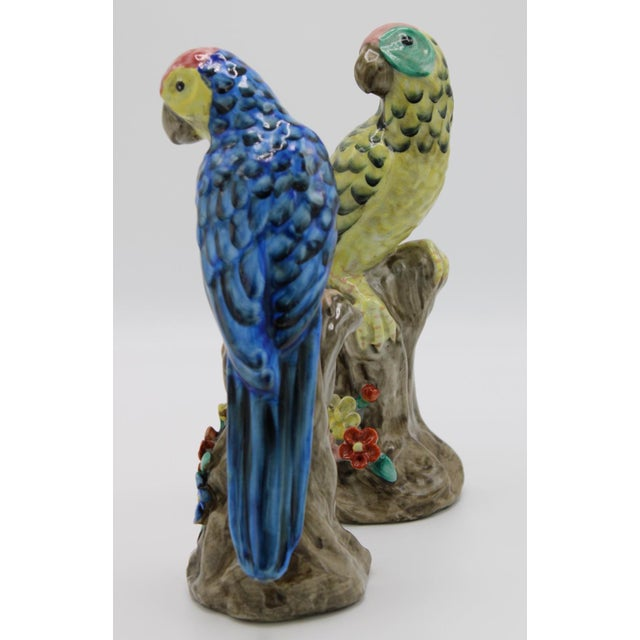Blue Blue and Green Ceramic Parrot Bird Figurines - a Pair For Sale - Image 8 of 12