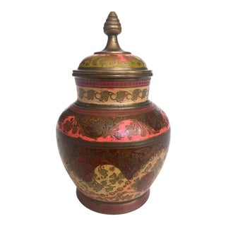 Vintage Mid Century India Brass Incised Multicolor Enamel Incense Urn Lidded Jar For Sale