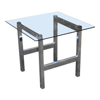 Mid Century Modern Chrome & Smoked Glass Side Table For Sale