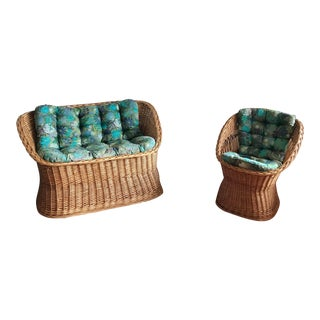 Vintage Wicker Seating Set - 2 Pieces For Sale
