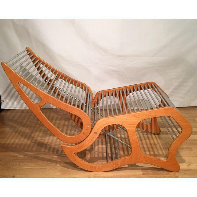 Mid Century Danish Modern Designer Lounge Chair W Aluminum Rods For Sale In Los Angeles - Image 6 of 7