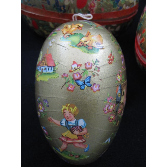 German Papier-Mâché Easter Egg Shaped Candy Container Holiday Ornaments For Sale - Image 4 of 8
