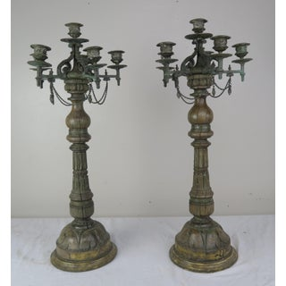 Pair of French Carved Wood and Cast Bronze Candlesticks Preview