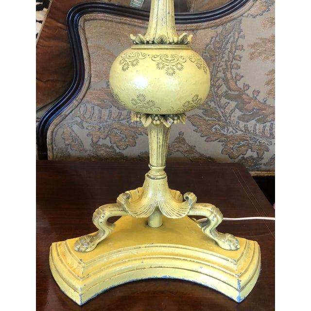 Hollywood Regency 1940s Hollywood Regency Yellow Tole Bouillotte Lamps with Custom Shade - a Pair For Sale - Image 3 of 6