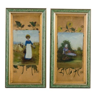 1930s Vintage Giltwood & Beveled Glass Oil Paintings - A Pair For Sale