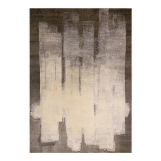 """Contemporary Paint Strokes Wool And Silk Rug-9'8'x13'8"""" For Sale"""