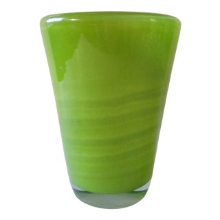 Henry Dean Green Striped Glass Vase For Sale