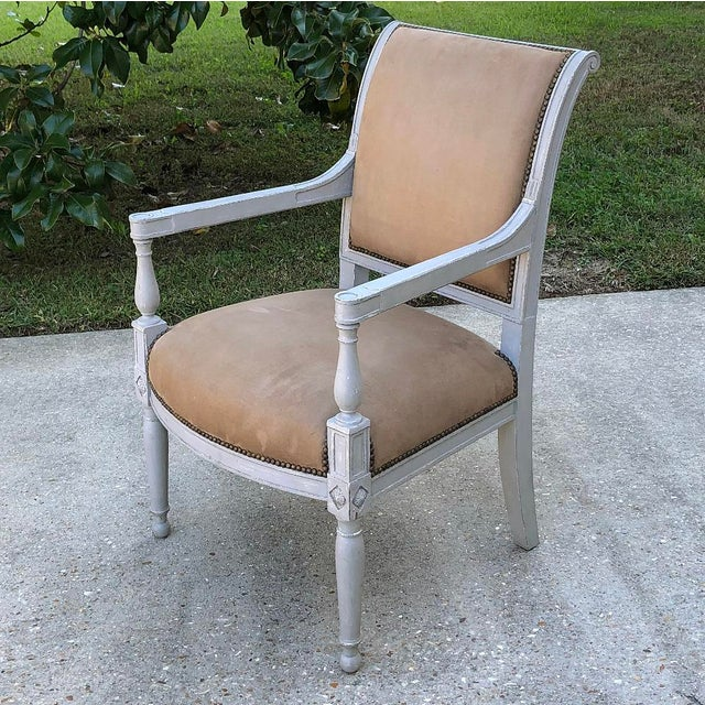 Pair 19th Century French Louis XVI Painted Armchairs For Sale - Image 4 of 13