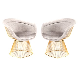 Platner Inspired Gold Lounge Chair - A Pair