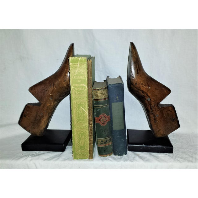 Antique Wooden Shoe Form Bookends - A Pair For Sale - Image 4 of 9