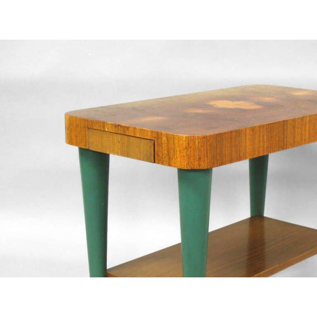 Pair of art deco moderne burl top tables by gilbert rohde image 3 of 4