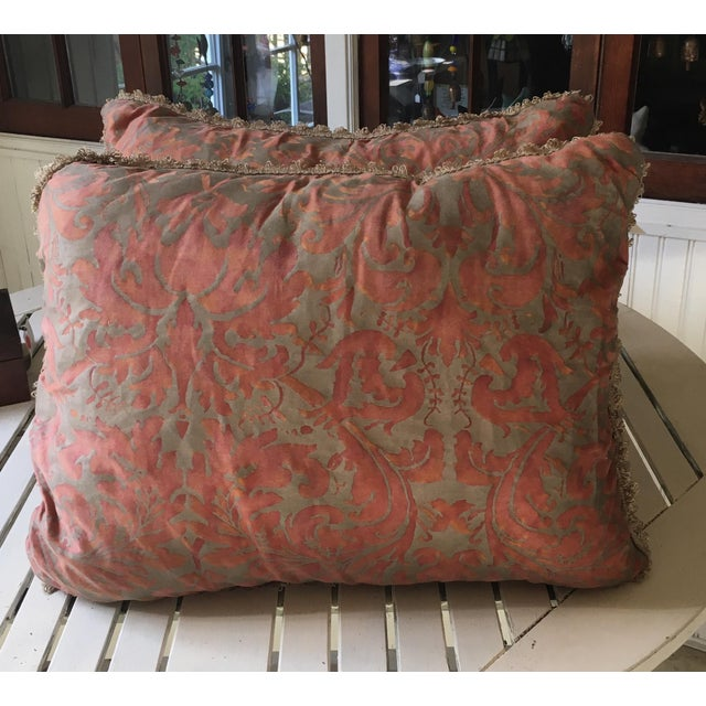 Lovely pair of pillows made with Fortuny fabric in faded raspberry color. Excellent condition