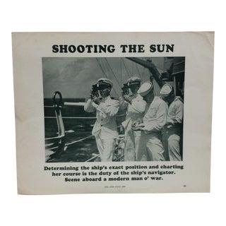 "Vintage Original u.s. Navy Print, ""Shooting the Sun"", 1937 For Sale"