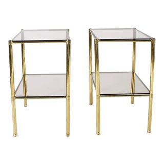 Pair of Brass Side Tables With Smoky Glass Tops, C. 1950