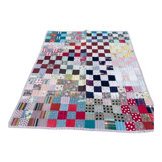 Patch Work Quilt With Random Vintage Fabric For Sale