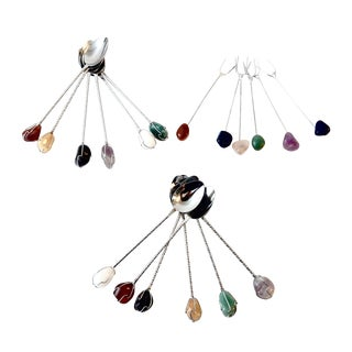 Semi Precious Stones Snack Picks & Spoons - Set of 18