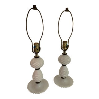 Hobnail Milk Glass Table Lamps - A Pair For Sale