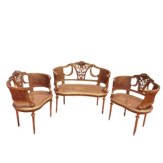 Antique French 1900 Gold Leaf Settee Set - 3 Pcs For Sale